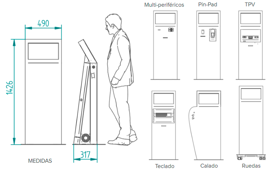 Kiosco interactivo de interior e700w medidas