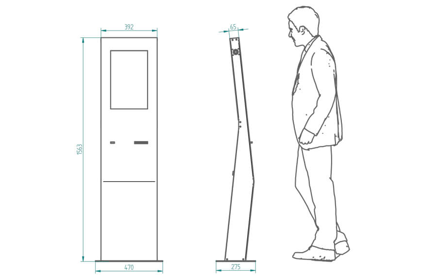 Punto de información interactivo diseño curvo