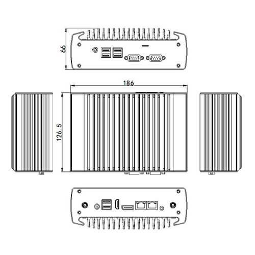 Cuenta con doble salida de vídeo HDMI/DP para la conexión de 2 monitores HD. De sus 2 puertos COM, uno de ellos pueden ser configurado con los protocolos RS485 / RS422. 2 x LAN perfecto para Nic Teaming.